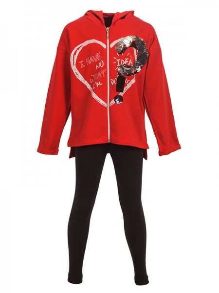 Winter leggins HEART RED