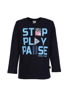 Blouse STOP PLAY PAUSE BLUE